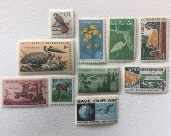 Nature Conservation collection - 10 vintage unused US postage stamps - wildlife birds animals flowers landscape deer
