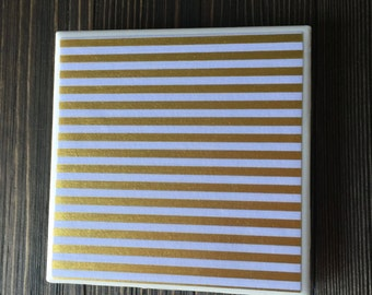 Gold Foil Striped Coasters, Thin Gold Striped Coasters, White and Gold Striped Coasters, Set of 4 Coasters