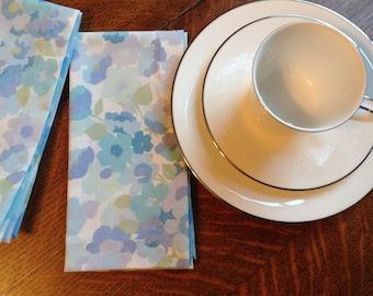 Handmade Cloth Dinner Napkins, Blue Napkins, Set of 4 Napkins, Retro Floral Napkins, Cotton Cloth Dinner Napkins