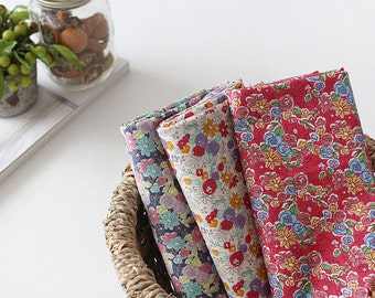 Tasha Flowers Cotton Fabric - Pink, Ivory or Navy - By the Yard 93765