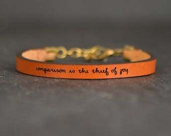 meaningful bracelet | inspiring quotes | encouragement | leather band | comparison is the thief of joy | poetry bracelet | quote leather