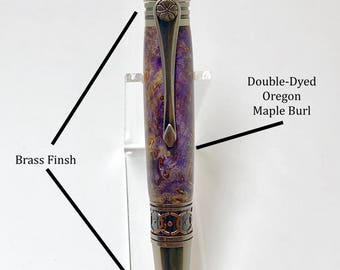 Oregon Double-Dyed Maple Burl Elegant Sierra Style Twist Hand-Crafted Pen
