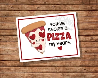 You've Stolen a Pizza my Heart Valentine, Teacher, Gift Tag, Classroom Gift tag, birthday, favor, customizable- PR10-PIZZA