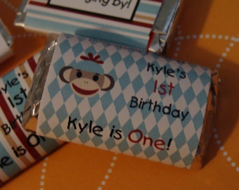 Sock Monkey Mini Candy Bar Wrappers for 1st 2nd 3rd 4th Birthday or Baby Shower Party Favors perfect for goody bags CIJ cheap goody bags