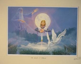 King Arthur Print Signed Keith English (1935-2016) St Ives Cornwall Legend of Avalon Fantasy Art Arthurian Mythology Original Art Cornwall