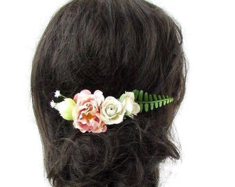 Blush Pink Cream Fern Green Leaf Rose Flower Hair Comb Fascinator Bridal 4805