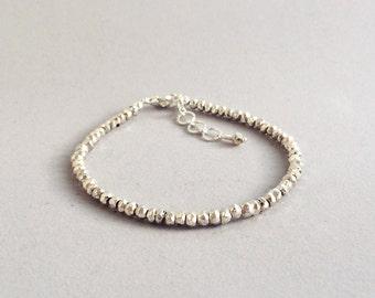 Silver pyrite threaded bracelet - sterling silver coated faceted pyrite strand bracelet - silver beads adjustable stacking bracelet