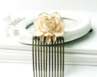 Vintage colored Ivory Rose Comb, Romantic Wedding Flower Long Comb, Bridesmaid Gift, Bridal Hair Comb, Shabby Chic, Wedding hair comb,