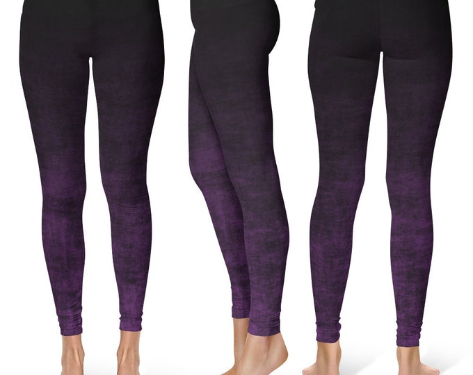 Purple Ombre Leggings Yoga Pants, Grunge Yoga Tights for Women in Black and Purple