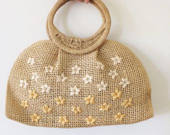 Vintage 1950s Straw Purse | 50s 60s 1960s Wicker Floral Woven Purse