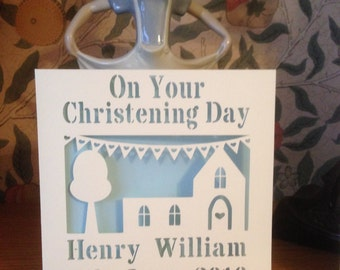 Papercut - Personalised Christening - Baptism - Naming Day Card - Baby
