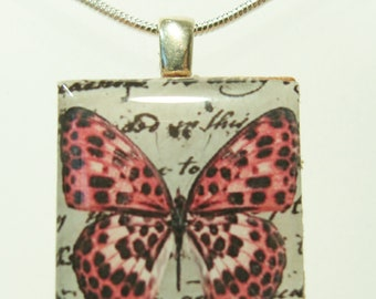 Pink Butterfly Scrabble Tile Pendant - Pink Spotted Butterfly - Scrabble Pendant Charm Necklace on Sterling Silver 925 bail & chain