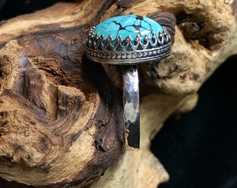 Sterling Silver & Turquoise Ring Size 10.5