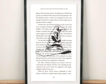Sorting Hat Print, Art Print, Harry Potter, Book Page From Philosopher's Stone, Gift Art, Book Quotes, Old Book Page Art, Bookish Gift