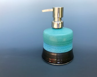 Ceramic soap dispenser, lotion pump- matte green and black glaze- with stainless steel pump (holds 10 oz), stoneware pottery soap pump
