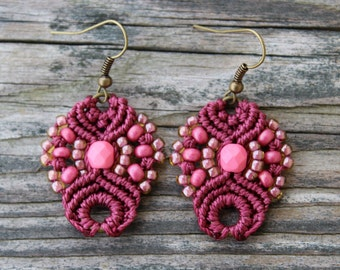 Micro-Macrame Earrings - Dark Pink