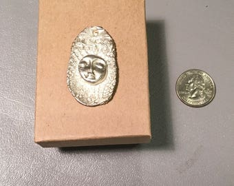 Handmade pure silver charm with moonface
