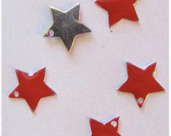 Beautification jewels - set of 5 red enameled star