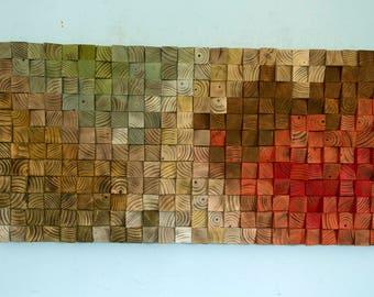"Reclaimed Wood wall Art, wood mosaic, geometric art, wood wall art - ""The touch of Earth"" - v.2"