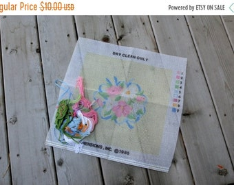 SALE SALE SALE Vintage Needle Point Kit Ribbons N Lace Bouquet Pillow