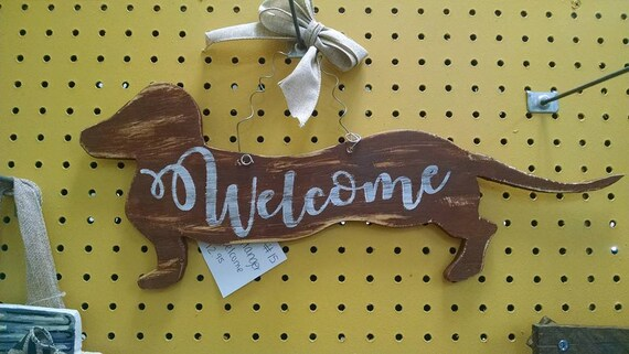 Dachshund Welcome Decor Wall Door Hanger Dog Pet Wood