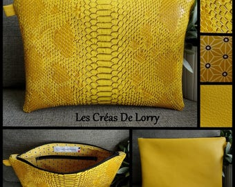 Duo Dragon and mustard yellow faux leather pouch