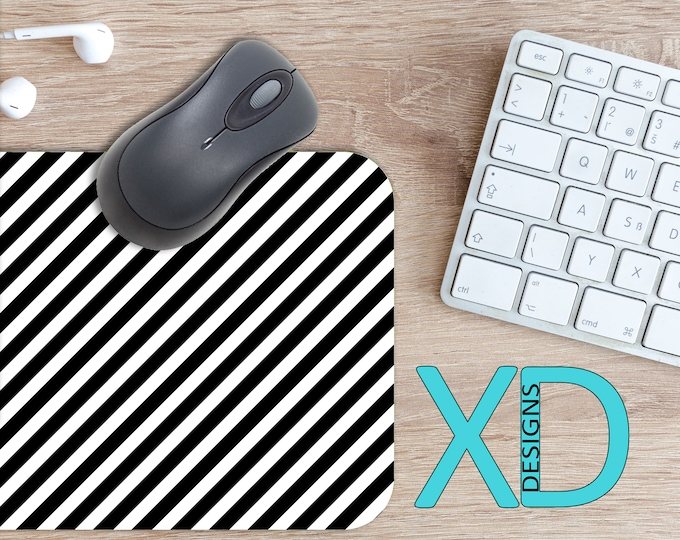 Classic Stripe Mouse Pad, Classic Stripe Mousepad, Lined Rectangle Mouse Pad, Black, Lined Circle Mouse Pad, Classic Stripe Mat, Neoprene