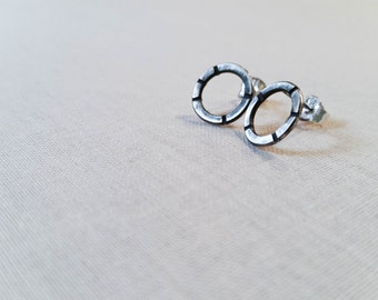 Sterling Silver Artisan Circle Stud Earrings - Oxidized Hammered Silver Posts Rustic Fall Trend Simple Petite Hoops Gift for Her