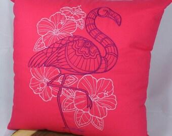 "Embroidered Flamingo Pillow - 16""x16"""