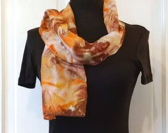 Small Coral Brown Silk Scarf, Hand Painted Silk, Small Scarf, Narrow Scarf, Handpainted Silk, 8x52 inches, Mother's Day Gift, Gift for Women