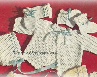 Crochet Baby LAYETTE VintageCrochet Pattern Crocheted BEAUTY - Baby JACKET Bonnet Booties / Pretty Enough for Special Occasion/Sunday Best