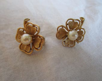 Designer Lisner Gold Tone Four Leaf Clovers with Faux Pearls