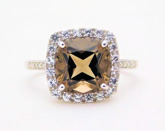 3.40ct Smoky Topaz, Diamond, and White Sapphire Halo Ring