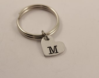 Custom Hand Stamped Initial Keychain - Small Heart