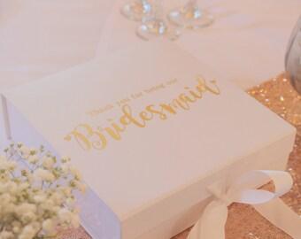 Gift Box, Personalised Gift Box, Wedding Gift Box, Bridesmaid Gift Box, Thank You Keepsake Gift Box, Luxury Gift Box.  Real gold foil