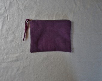 Pink purple pouch witchy moon bag minimalist organizer purse zip wallet cosmetics travel makeup earthy boho bohemian style natural cases