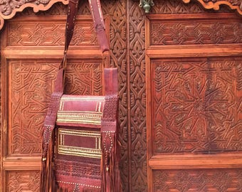 Vintage 100% Leather Handmade Moroccan Bag