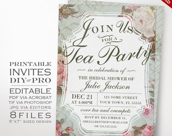Bridal Shower Tea Party Invitation Template - Vintage Rose Shower Invitation Printable DIY Country Bridal Shower Invitation Editable Invite