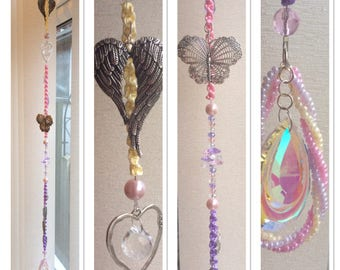 Crystal Suncatcher lovely gift / present lilac and pink
