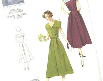 VOGUE SEWING PATTERN v1171, original 1950 design, ladies dress with sailor neckline, sizes 8, 10, 12, and 14, new and uncut