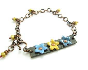 Enameled Flower and Copper Bracelet Earthy Flower Bracelet Leather & Copper Jewelry Handmade Mixed Media Jewelry