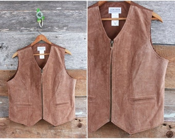 80s leather vest by Jantzen | 1980s brown suede leather waistcoat | unisex size men's medium or women's large