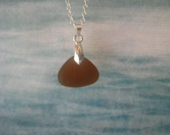 Hawaiian Island Sea Glass Pendant Necklace.