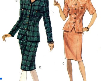 Vogue 7843 Easy Classic Suit Jacket Top Skirt Wardrobe Size 6 8 10 Uncut Vintage Sewing Pattern 1990