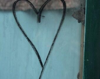 Heart Graffiti, blue, teal  5x5, photograph