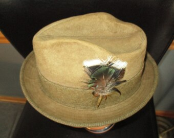 Mens Hat Dobbs Fifth Avenue- New York Brown - Suede/ Leather -Feather - Fedora Men's Vintage Fedora Hat Size  7