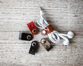 Boyfriend Gift, Stocking Stuffer, Leather Cord Organizer - Antique Brown Leather iPhone Earbud Lightning Cord Keeper Holder Organizer