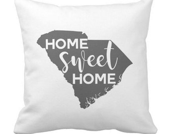 SC Personalized Throw Pillow - South Carolina Home Sweet Home - Choose Any State - Perfect For Housewarming Gifts, Weddings, Anniversaries