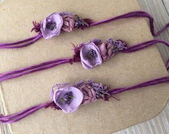 Tiny Purple Plum Violet Tieback Tieback Headband - Newborn, Baby, Toddler, Child - Ready to Ship