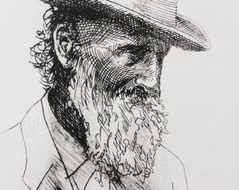John Muir Portrait, Intaglio portrait, Historic portraits, Intaglio wall art, original intaglio, Book illustration, Naturalist gifts
